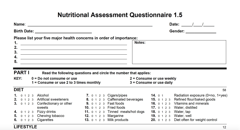 Nutritional Assessment Questionnaire - The Health Formula